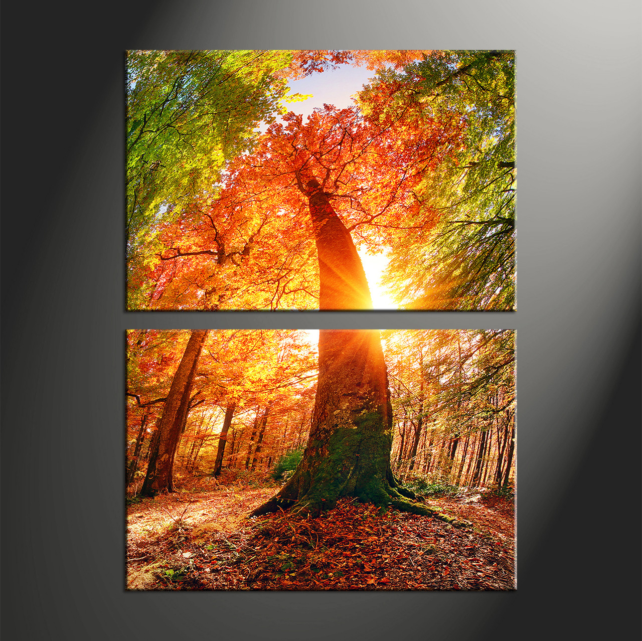 Large Vertical Paintings 2 Piece Red Canvas Scenery Trees Art