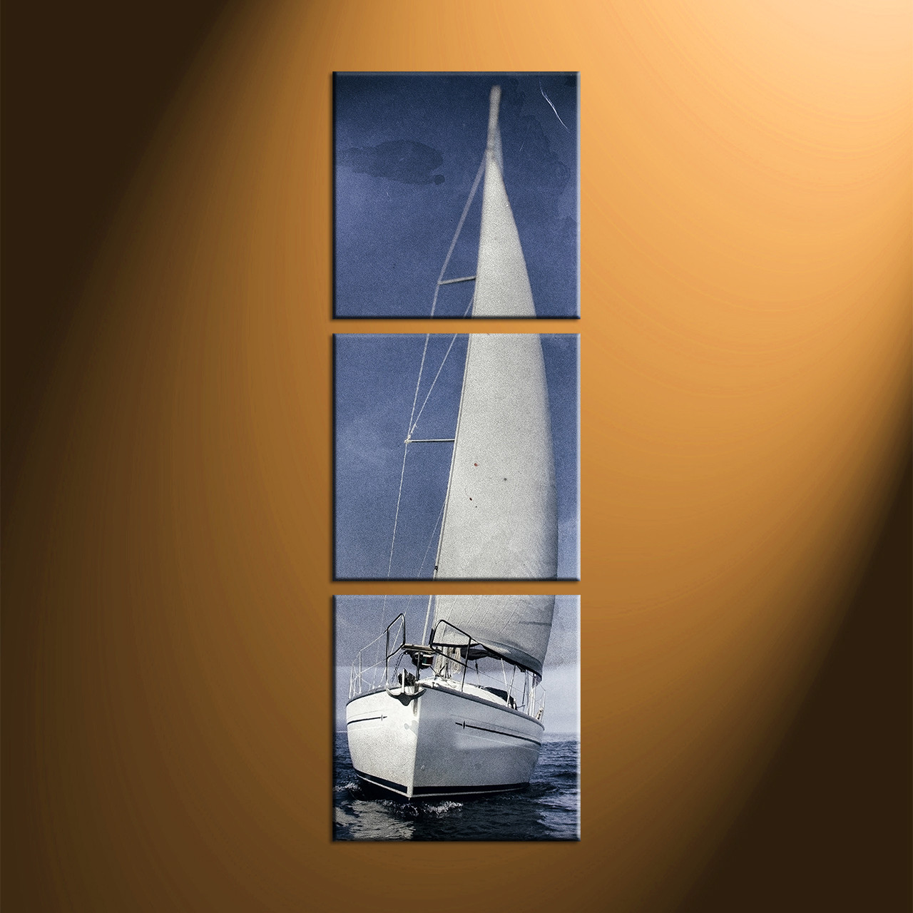 Large Vertical Paintings 3 Piece Grey Sky Ocean Ship Canvas Art Prints