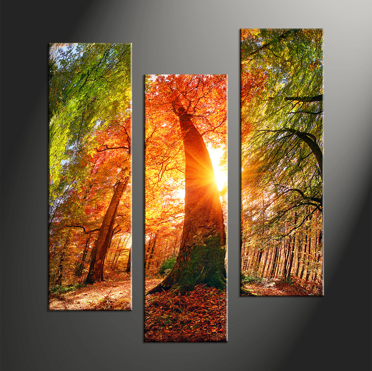 Big Canvas Prints Triptych Red Scenery Sunrise Multi Panel Canvas
