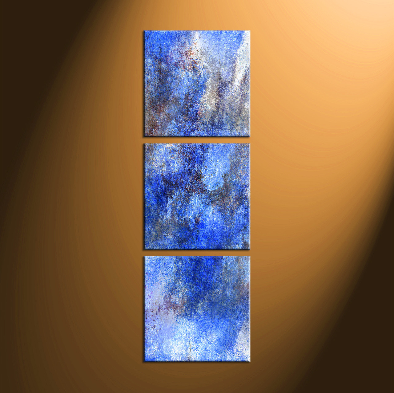 Large Vertical Paintings 3 Piece Canvas Abstract Blue Huge Pictures
