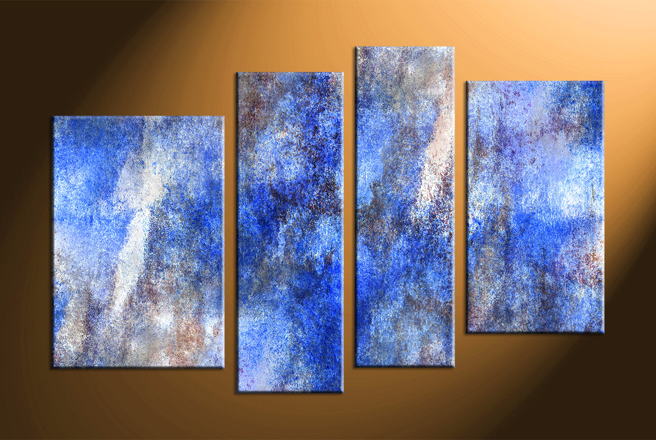 Big Canvas Prints 4 Piece Abstract Blue Large Canvas