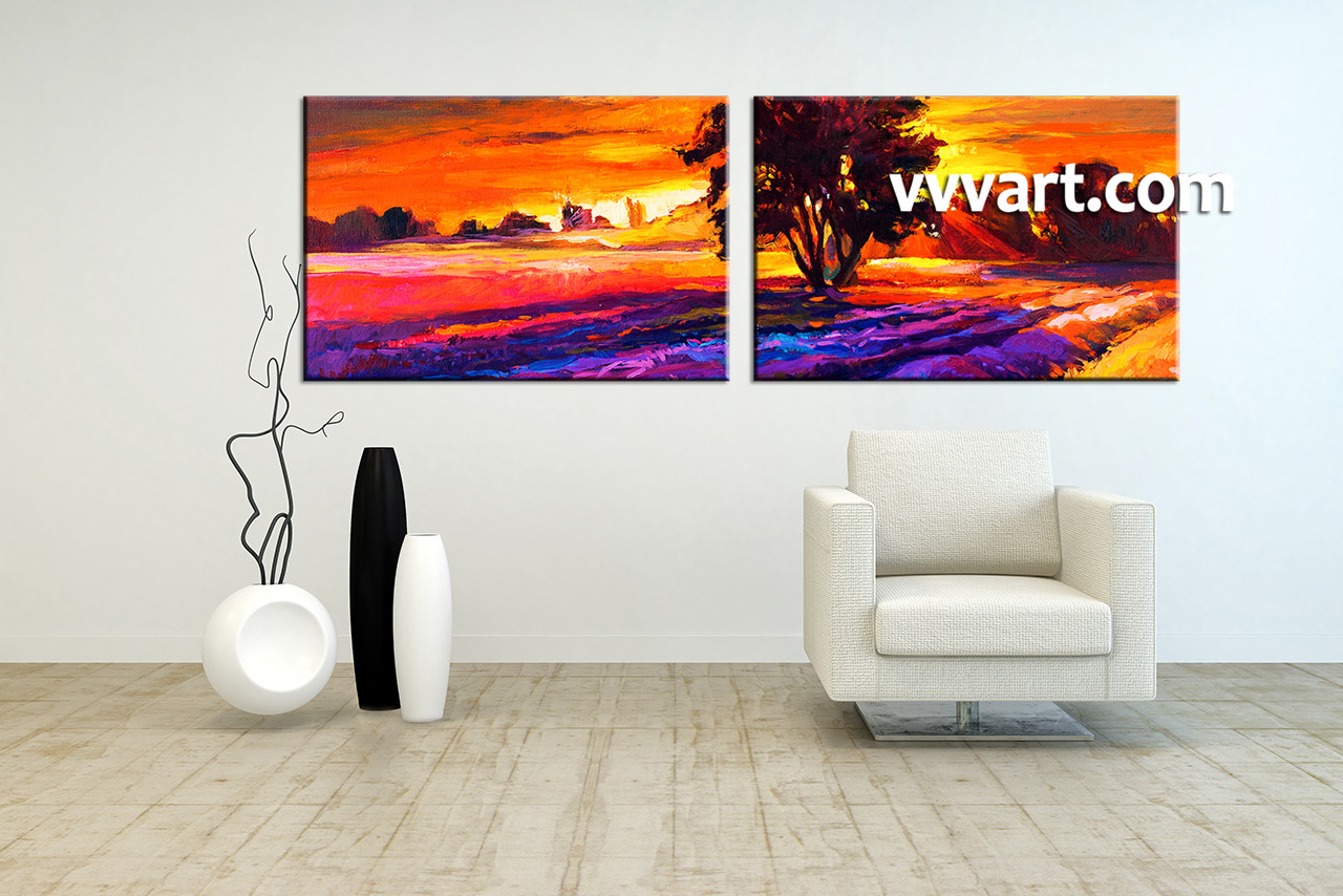 Living Room Paintings 2 Piece Orange Canvas Landscape Sunrise Oil Paintings Wall Art