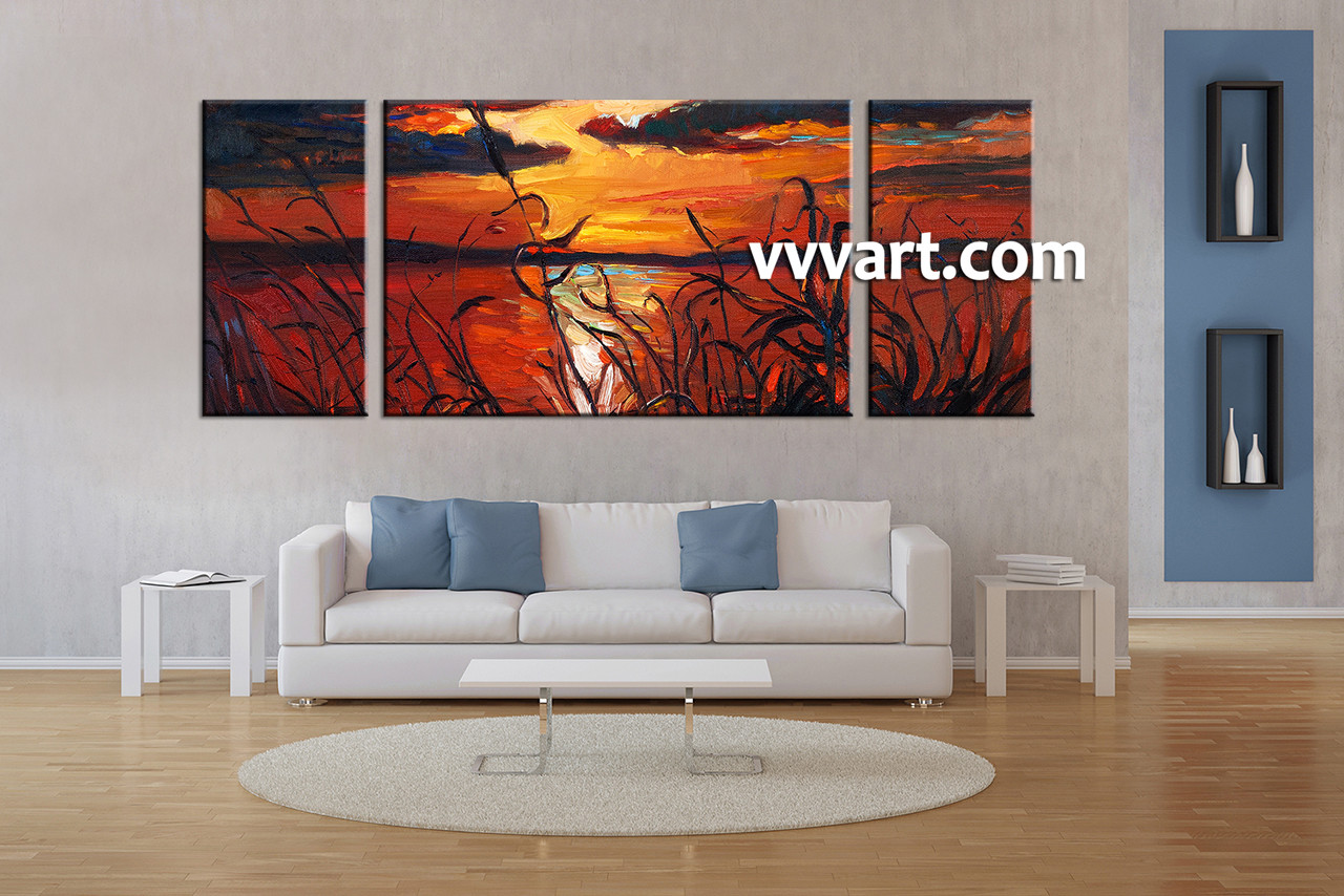 Living Room Paintings Triptych Red Canvas Ocean Sunset Oil Paintings Wall Art