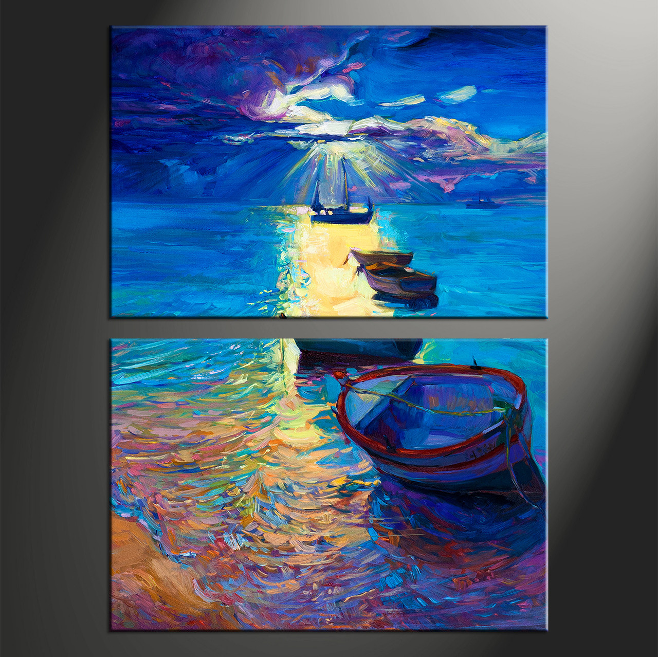 Large Vertical Paintings 2 Piece Blue Ocean Oil Paintings Canvas Photography