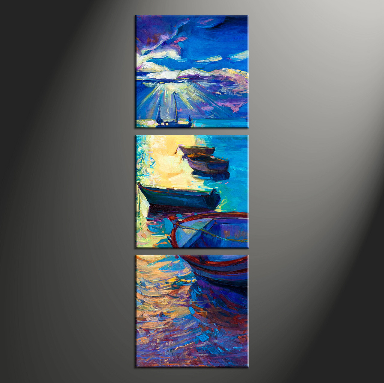 Large Vertical Paintings 3 Piece Canvas Blue Sunrise Ocean Oil Paintings Pictures