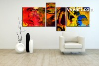 4 Piece Abstract Colorful Oil Paintings Canvas Wall Art