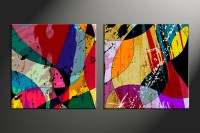 2 Piece Colorful Home Decor Abstract Wall Art