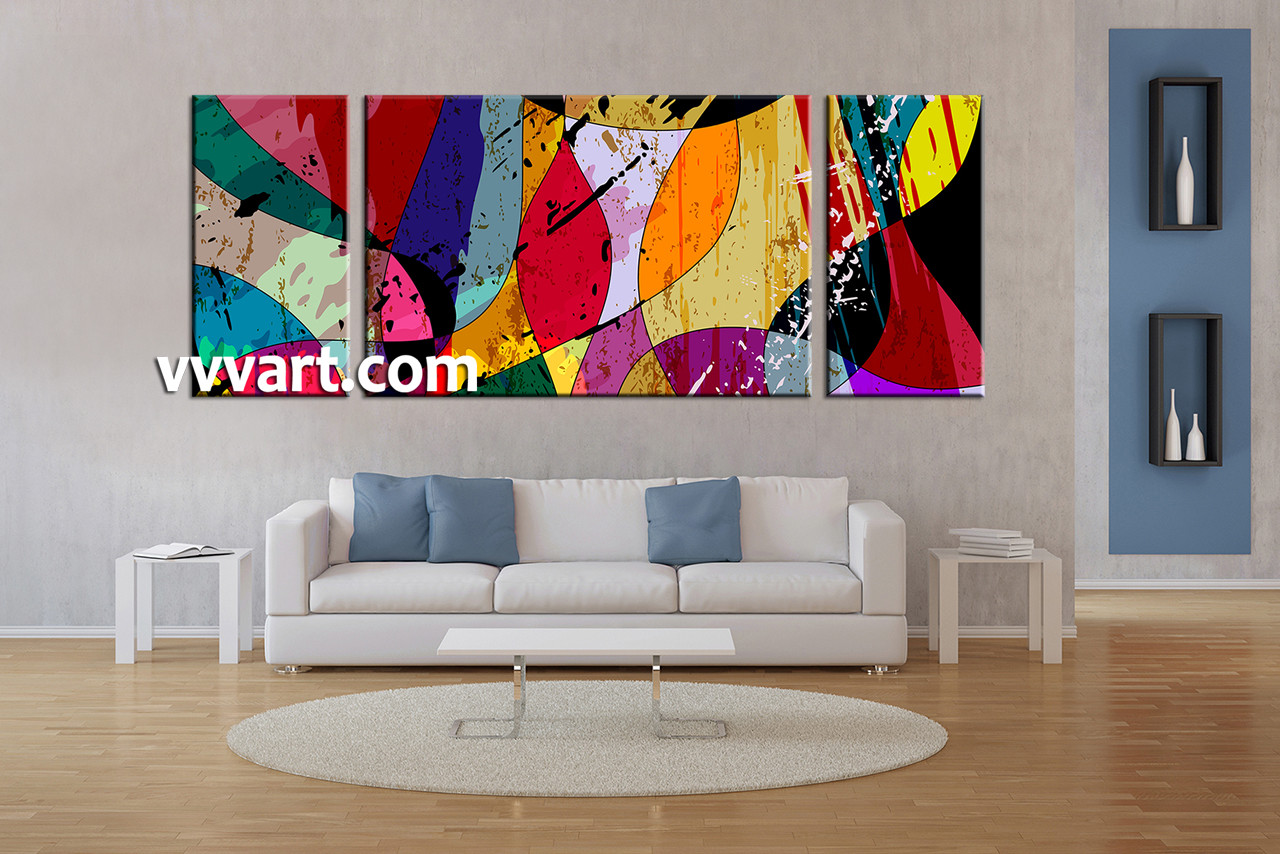 Home Decor Paintings 3 Piece Colorful Home Decor Abstract Large Canvas