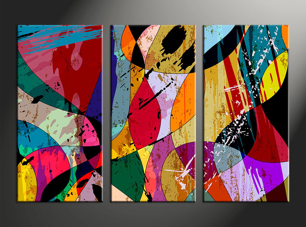 Home Decor Paintings 3 Piece Colorful Home Decor Abstract Huge Canvas Art