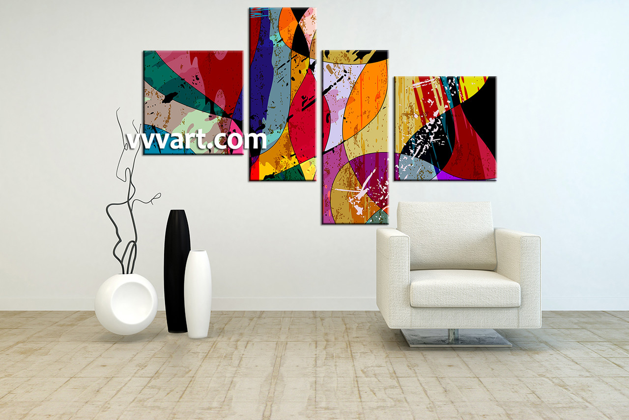 Home Decor Paintings 4 Piece Colorful Home Decor Abstract Photo Canvas