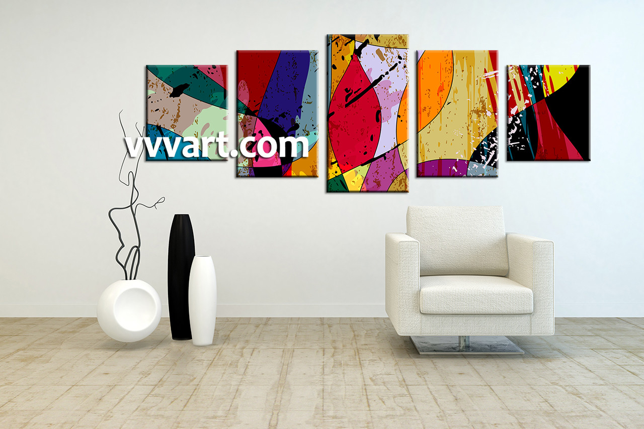 Home Decor Paintings 5 Piece Canvas Colorful Home Decor Abstract Multi Panel Art