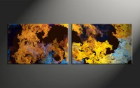 2 Piece Canvas Yellow Abstract Wall Decor
