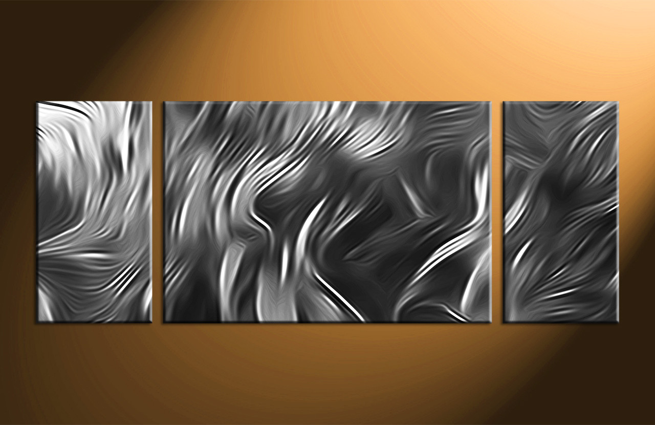 Black White And Gray Paintings 3 Piece Canvas Abstract Grey Artwork
