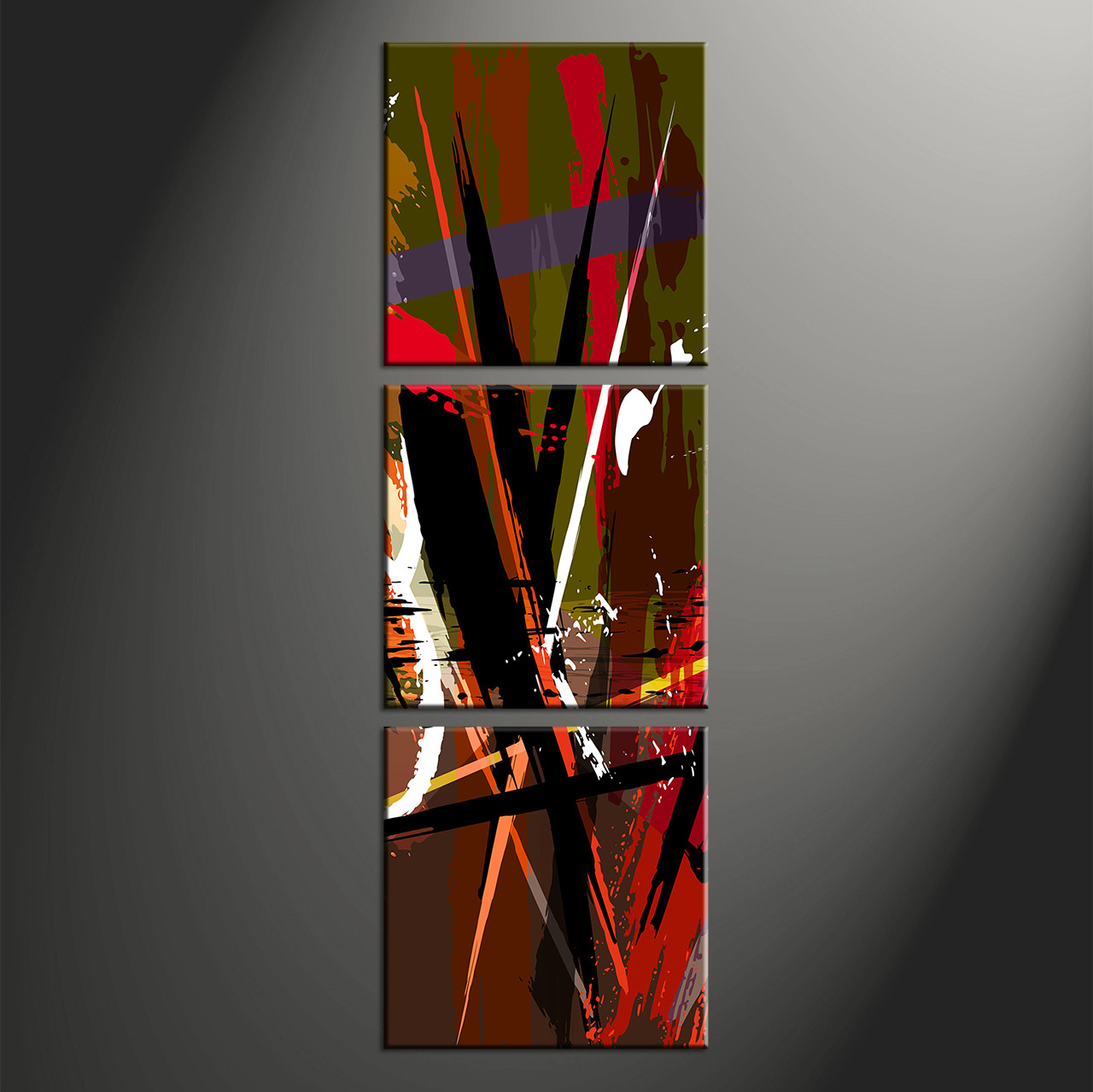 Large Vertical Paintings 3 Piece Canvas Home Decor Abstract Colorful Decor