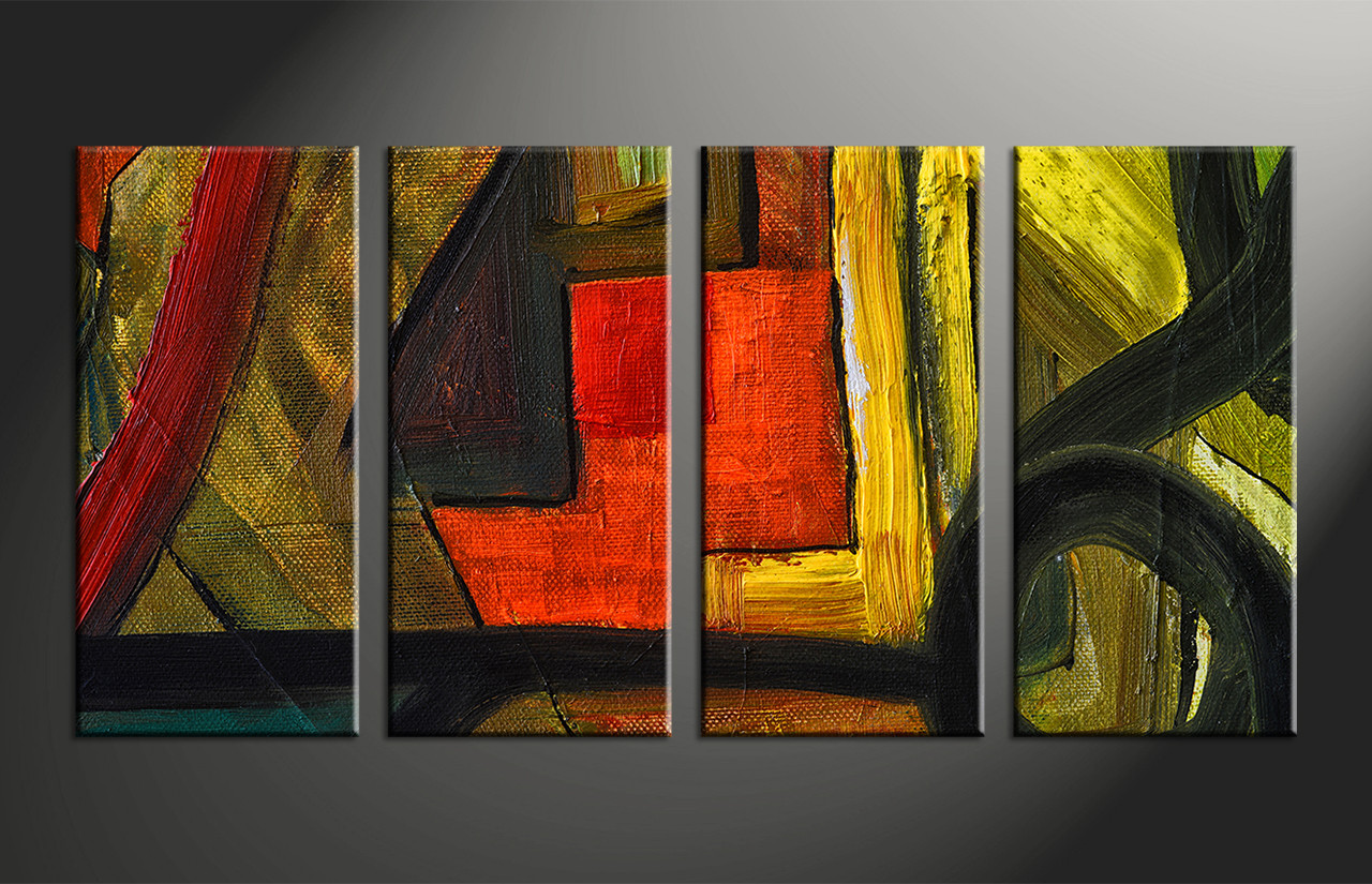 Home Decor Paintings 4 Piece Canvas Abstract Colorful Oil Painting Decor