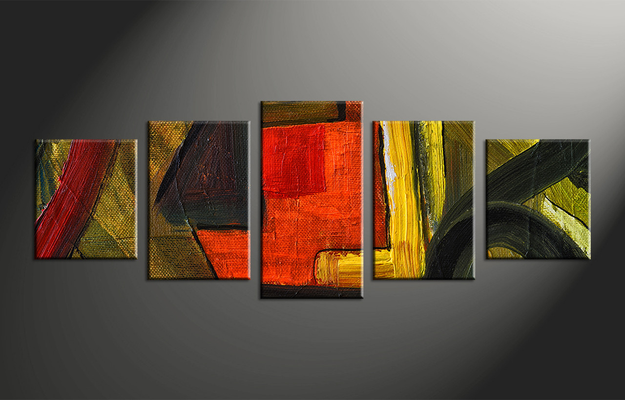 Home Decor Paintings 5 Piece Canvas Abstract Colorful Oil Painting Multi Panel Art