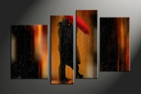 4 Piece Huge Pictures Red Fireplace Modern Canvas Print