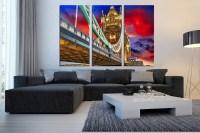 3 Piece Huge Pictures, City Multi Panel Canvas, Bridge ...