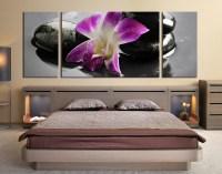 3 Piece Artwork, Purple Flower Multi Panel Art, Orchids ...
