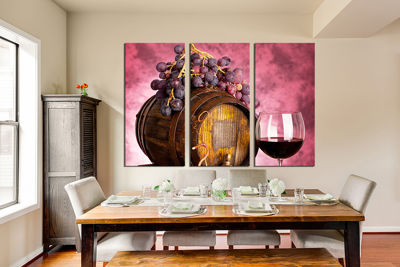 Giant Wine Glass Decorations 3 Piece Large Pictures Wine Artwork Grapes Wall Decor