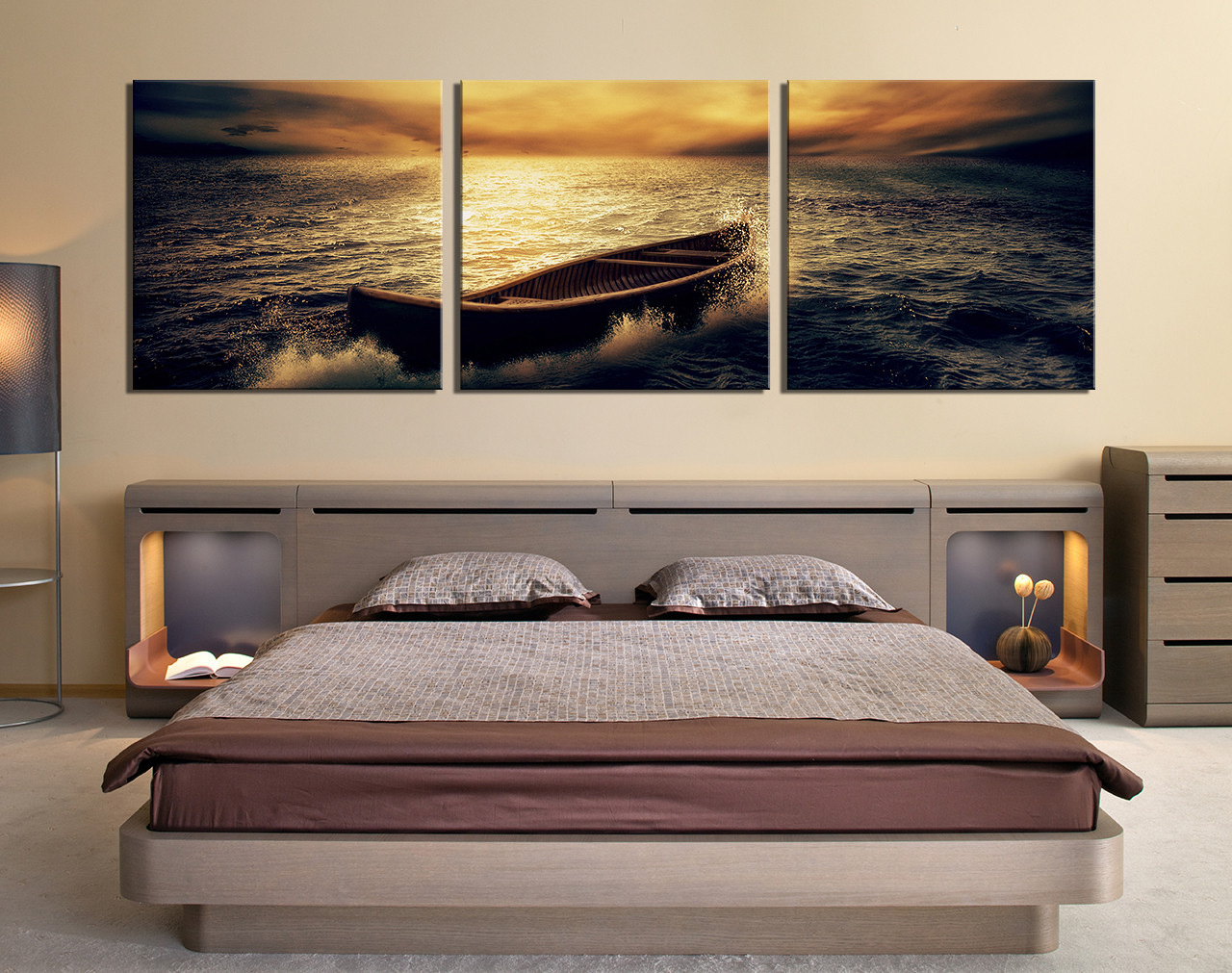 Teal 3 Piece Canvas Photography Yellow Sky Ocean Multi Panel Art Bedroom Huge Canvas Print 45784 Bedroom Wall Art Stickers Bedroom Wall Art Etsy houzz-02 Bedroom Wall Art