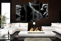 4 Piece Multi Panel Art, Thunderstorm Canvas Wall Art ...
