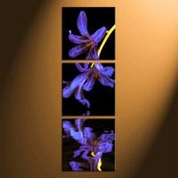 3 Piece Canvas Photography, Floral Huge Canvas Art, Purple ...