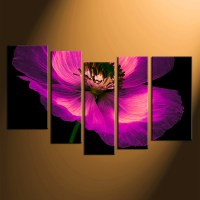 5 Piece Large Pictures, Purple Flowers Canvas Photography ...