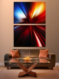 2 Piece Canvas Wall Art, Red Abstract Photo Canvas ...