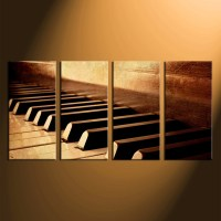 4 Piece Multi Panel Canvas, Music Huge Pictures, Piano ...
