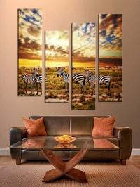 4 Piece Multi Panel Art, Colorful Wall Decor, Zebra Group