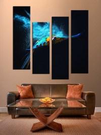 4 Piece Multi Panel Canvas, Blue Parrot Canvas Photography ...