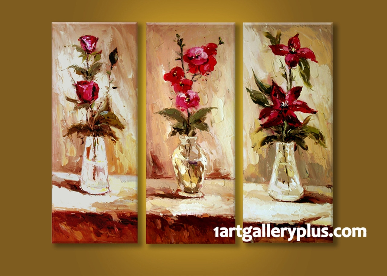 3 Piece Multi Panel Art Floral Wall Decor Red Flowers