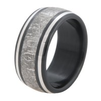 Men's Blue Carbon Fiber and Titanium Gibeon Meteorite Ring ...