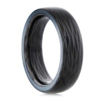 Side Cut Carbon Fiber Glow Ring  Oreo Blue Glow Ring