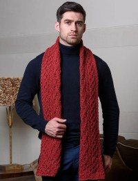 Men's Wool Cashmere Aran Honeycomb Scarf