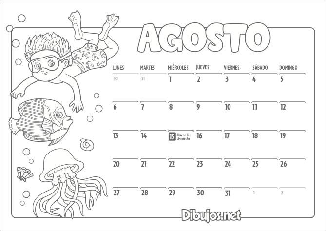 Calendario Infantil 2018 para Imprimir y Colorear - Dibujosnet
