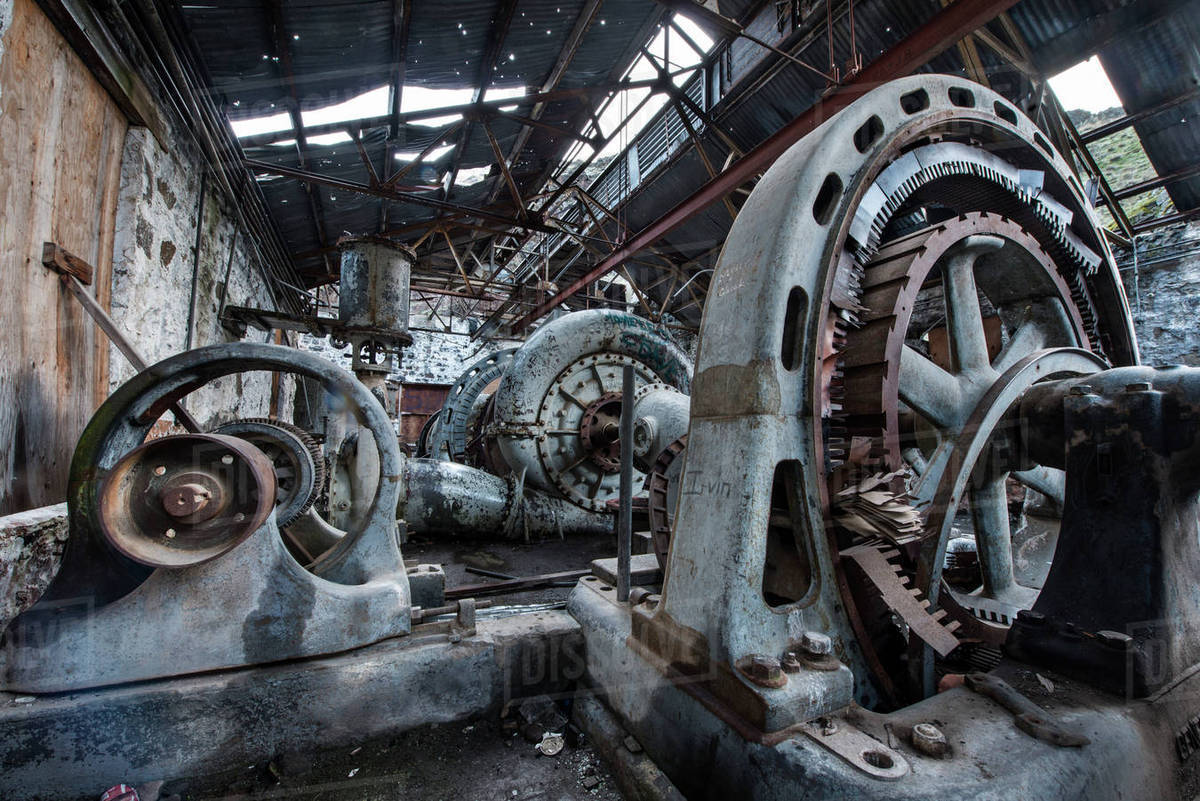 Industriel Machine Machinery In Abandoned Industry Stock Photo