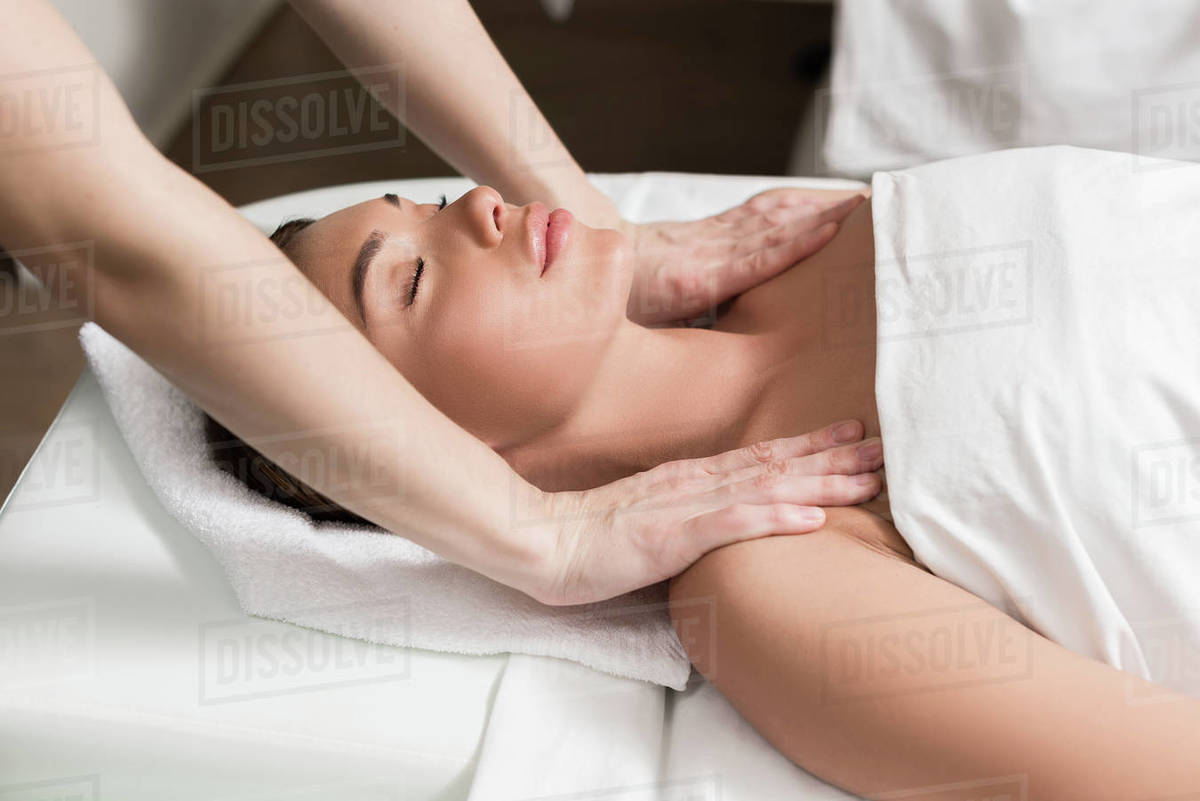 Salon Massage Body Body Young Relaxed Woman With Closed Eyes Having Body Massage In Spa Salon Stock Photo