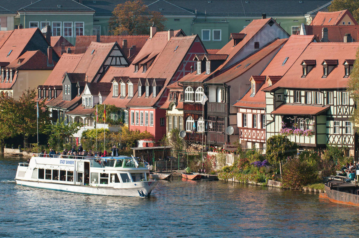 Venice Venedig Tour Boat In Little Venice Klein Venedig And River Regnitz In Bamberg Germany Stock Photo