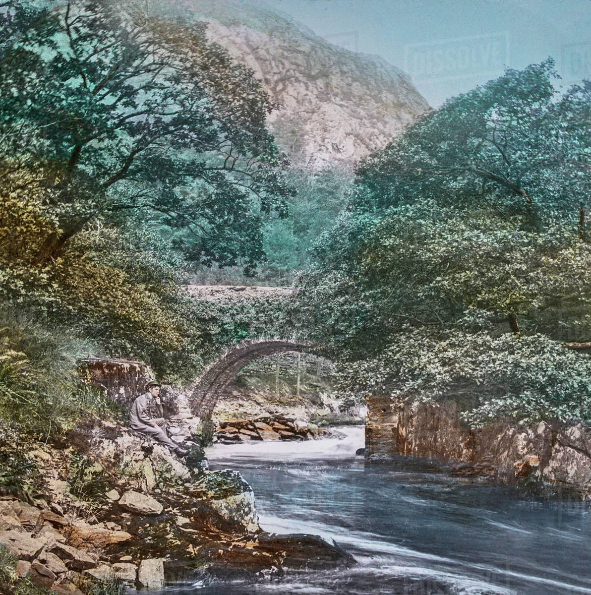 37 Tour Magic Lantern Slide Circa 1900 Hand Coloured Created In 1887 A Tour Of North Wales 37 Pont Aberglaslyn The Old Bridge Itself This Is A Picture