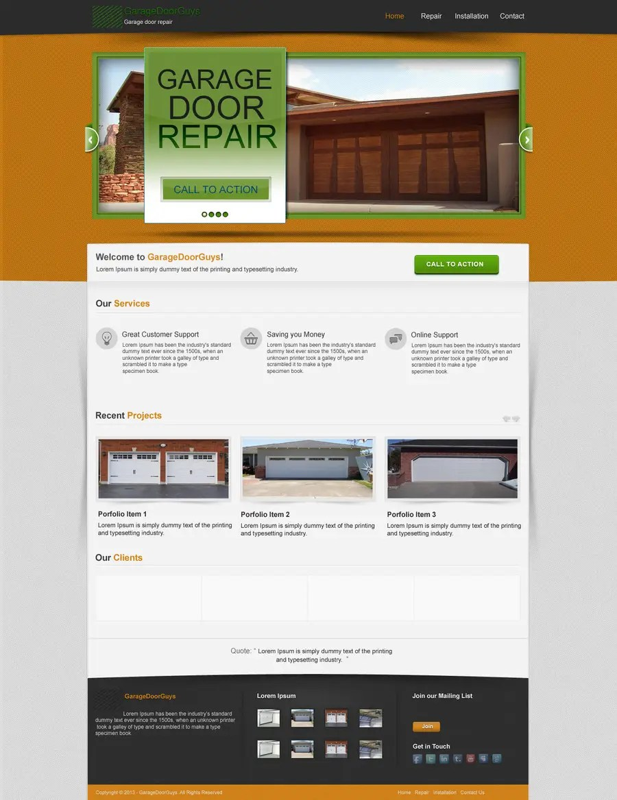 Garage Design Template Entry 18 By Kpk1l For Create A Wordpress Template For Garage Door