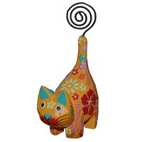 Yellow Wooden Cat Picture Holder - Fair Trade | Present ...