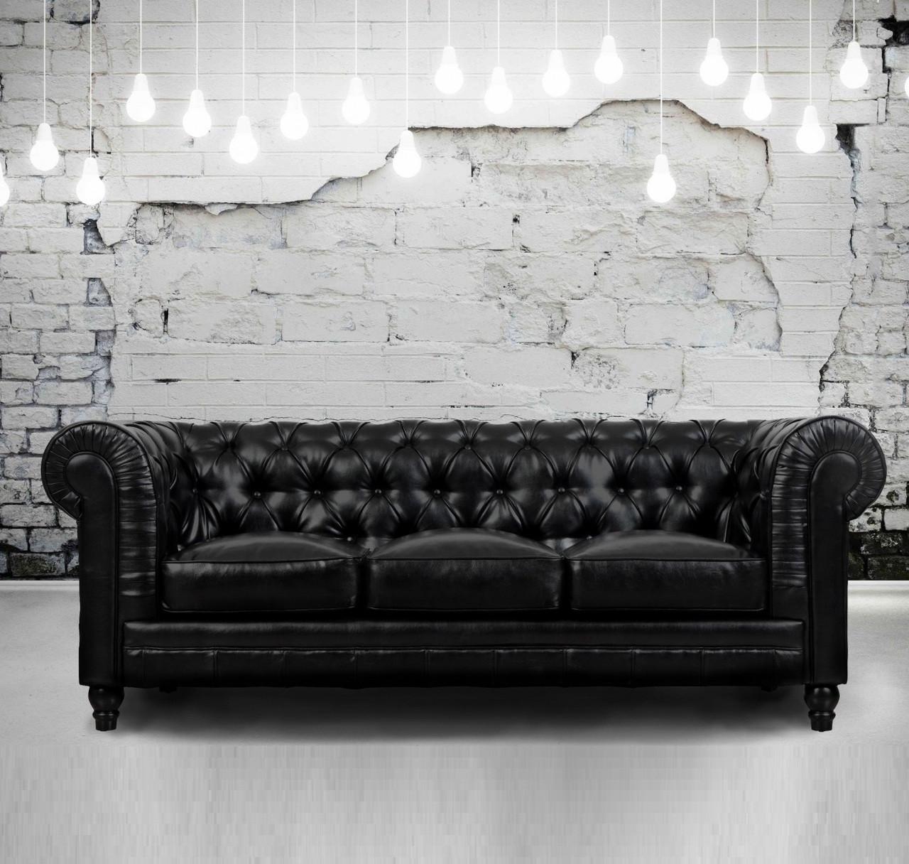 Zahara Tufted Black Leather Chesterfield Sofa Zin Home