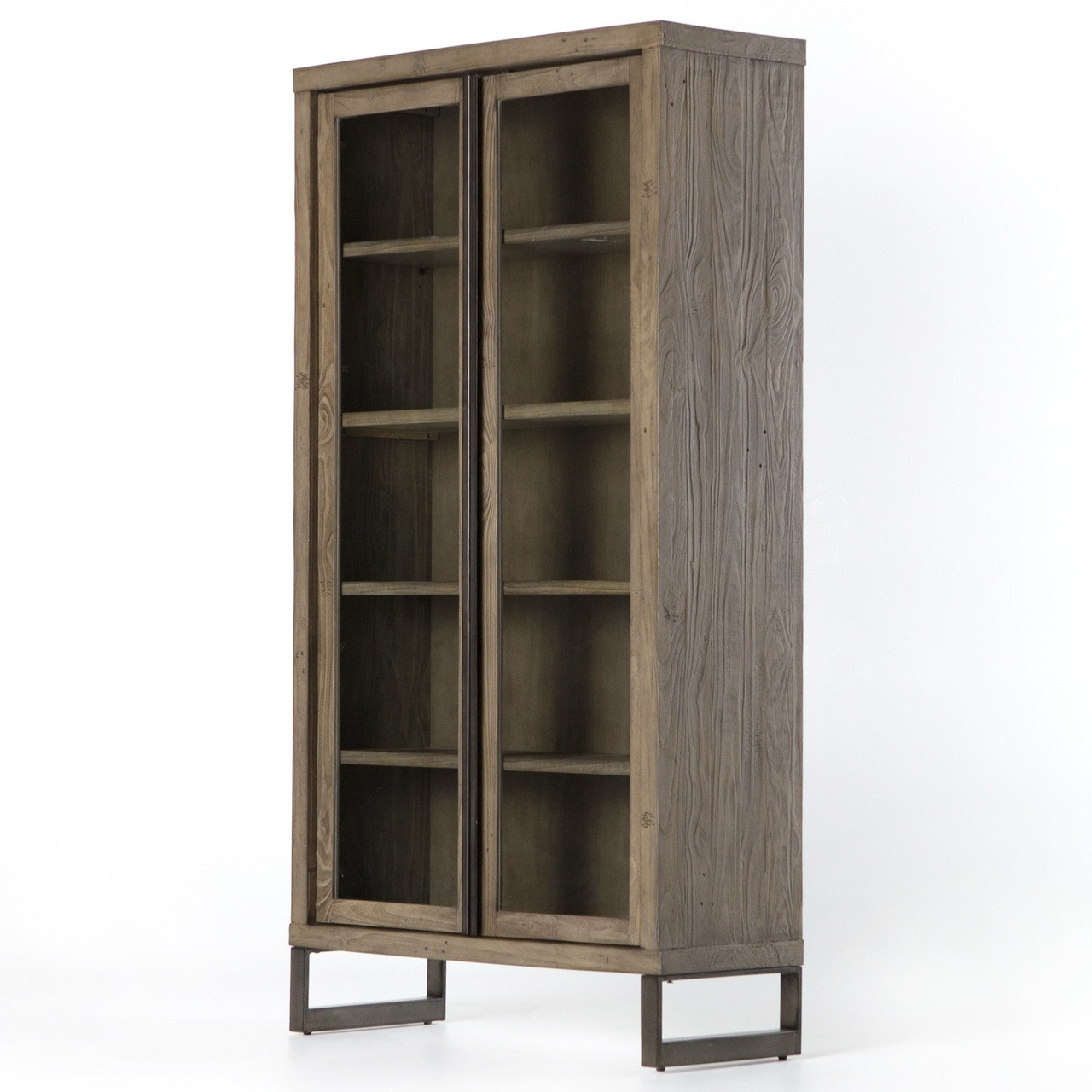 Modern Display Cabinet Harding Modern Glass Door Display Cabinet Grey Zin Home
