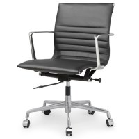 Black Italian Leather M346 Modern Office Chairs | Zin Home