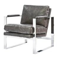 Elan Mid Century Modern Black Leather Armless Lounge Chair ...