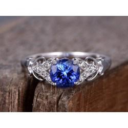 Pleasing Blue Sapphire Engagement Ring Sapphire Deco Engagement Round Created Blue Gem Blue Sapphire Ring Walmart Blue Sapphire Ring Mens wedding rings Blue Sapphire Ring