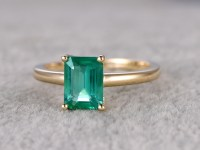 6x8mm Emerald Cut Natural Emerald Engagement Ring 14k ...