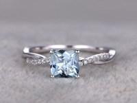 White Gold Aquamarine Engagement Rings With Diamonds ...
